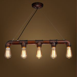 American Rural Industrial Retro Style Iron Craft Simple Water Pipe Pendant Light