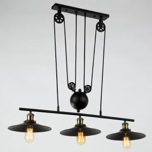 American Rural Industrial Retro Style Iron Craft Lifting 3 Lights Pendant Light