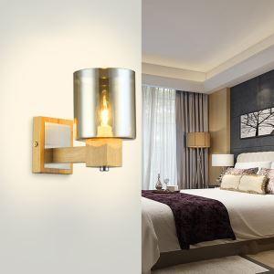 Amber Glass Cylinder Shade Wood Canopy Designer Wall Lights