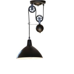 10 Inches Wide Single Light Matte Black Industrial Pendant Light with Pulley
