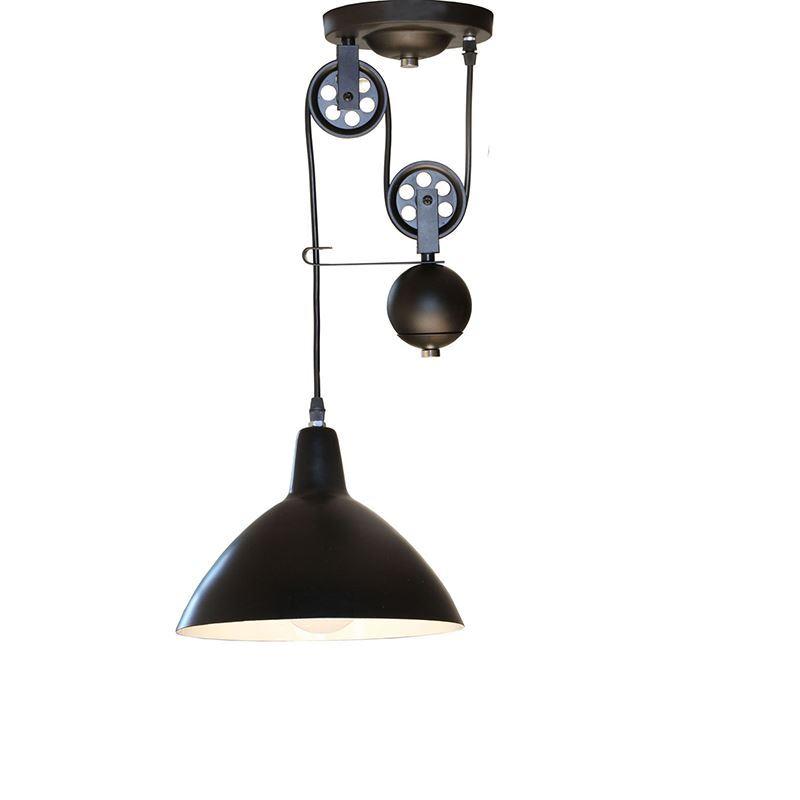 10 Inches Wide Single Light Matte Black Industrial Pendant