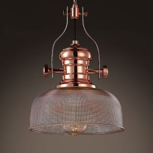 Burnished Copper 1 Light Indoor Pendant with Prismatic Glass Shade