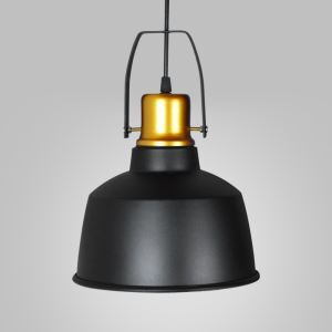 9'' W Simple Industrial Pendant in Black and Gold Finish