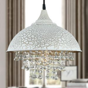 White Crackled Iron Single Light Crystal Pendant Light with Dome Shade