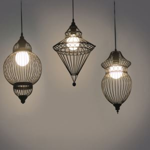 Matte Black Single Light Wire Cage Foyer Pendant Lighting