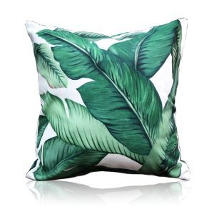 Simple Green Environmentally Friendly Plantain Leaves Pattern Double-sided Printing Pillowcases