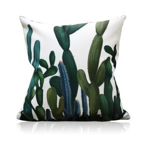 Simple Green Environmentally Friendly Cactus Pattern Double-sided Printing Pillowcases