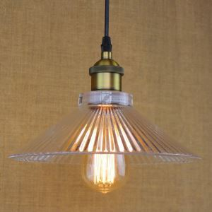 Water Glass Cone Shade 1 Light Mini Pendant Light in Brass Finish