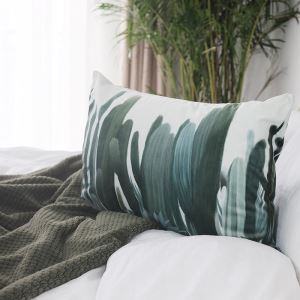 Simple Green Environmentally Friendly Plant Pattern Double-sided Printing Waist Pillowcases