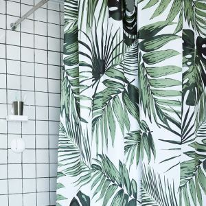 HomeLava Original High-quality Environmentally Friendly Waterproof Anti-mildew Polyester Fabric Leaves Pattern Shower Curtain