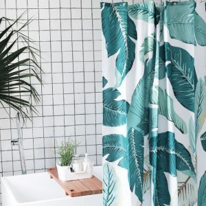HomeLava Original High-quality Environmentally Friendly Waterproof Anti-mildew Polyester Fabric Plantain Leaves Shower Curtain