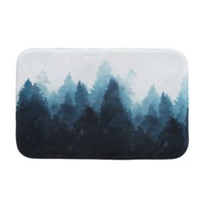 Nordic Simple Thickening Soft Flannel Forest Illustration Anti-Skid Mats