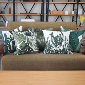 Simple Green Environmentally Friendly Plant Pattern Double-sided Printing Pillowcases Group(5 piece)
