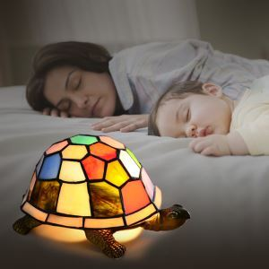 Colorful Turtle Design 9 Inch Mini Night Light for Kids in Tiffany Style