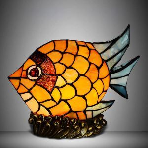 Vintage Orange Fish Shape 9 Inch Mini Kids Room Night Lamp in Tiffany Stained Glass Style
