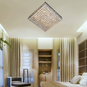 Modern Square 6 Light Flush Mount In Crystal Design (220V-240V)