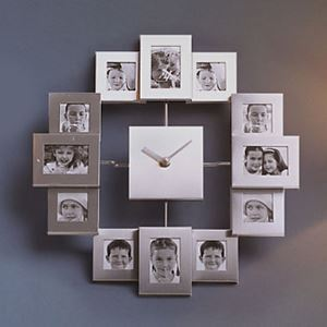 in stock silver photo frame mute wall clock