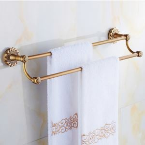 European Vintage Bathroom Accessories Double Layer Towel Rack Antique Brass Towel Bar