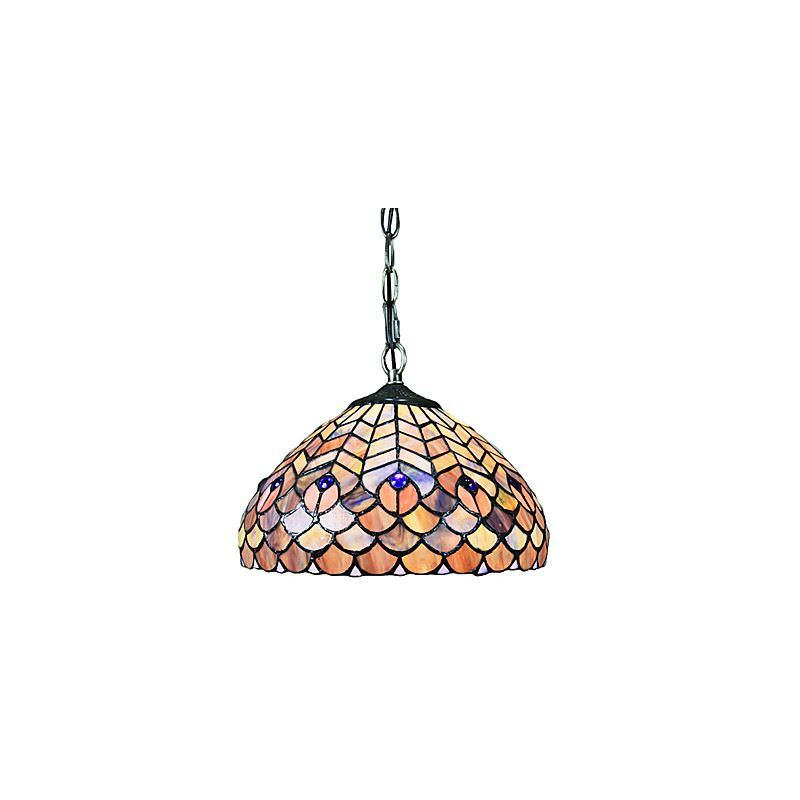 60W Contemporary 1- Light Tiffany Pendant Light in Glass Shade Feather Pattern