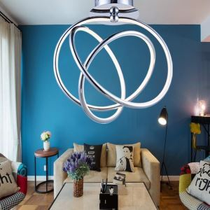 Modern Simple Iron + Aluminum + Acrylic Chrome LED Ceiling Light Energy Saving
