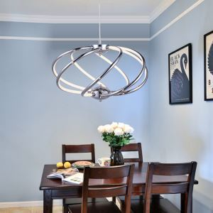 Modern Simple Aluminum + Acrylic Chrome Rotate Model LED Ceiling Light