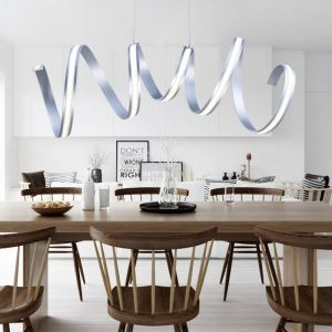 Modern Simple Pendant Light Aluminum + Acrylic Chrome Spiral LED Ceiling Light Energy Saving