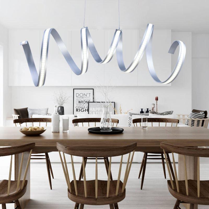 Modern Simple Pendant Light Aluminum Acrylic Chrome Spiral LED Ceiling Energy Saving Img 1