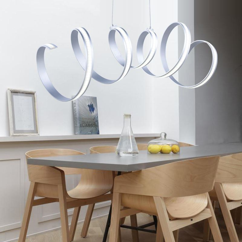 Modern Simple Pendant Light Aluminum Acrylic Chrome Spiral LED Ceiling Energy Saving Img 2
