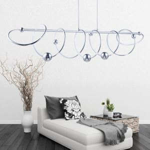 Modern Simple Stainless Steel + Aluminum + Acrylic Chrome Interplanetary Trajectory Model LED Ceiling Light