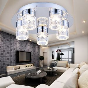 Modern Simple Stainless Steel + Iron + Crystal Chrome Water Column Modeled LED Ceiling Light