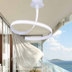 Modern Simple Aluminum + Acrylic White Rotate Shape LED Ceiling Light Energy Saving