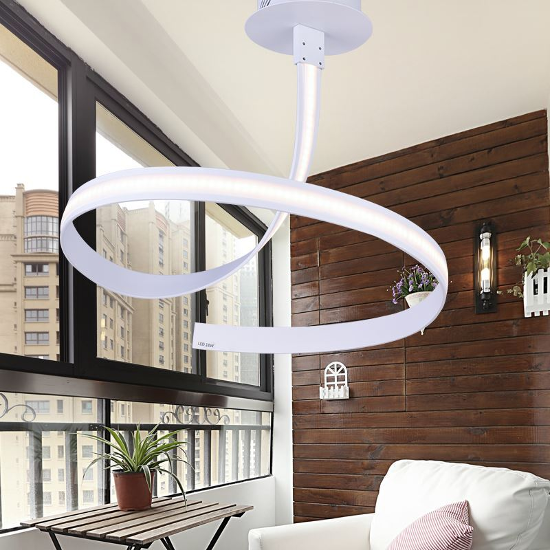 out of stock   Modern Simple Aluminum + Acrylic White Rotate Shape LED Ceiling Light Energy Saving -> Lampadario Led Cucina Moderna