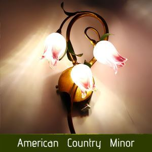European Style Retro Sconce Iron Purple-red Tulip Glaze Lampshade 3 Lights LED Wall Light Energy Saving