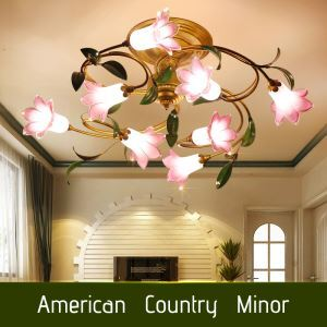 European Style Retro Iron Pink Lily Glaze Shade 8 Lights LED Flush Mounts