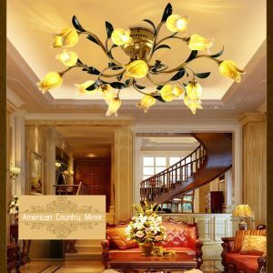 European Style Retro Iron Gold Tulip Glaze Shade 15 Lights LED Flush Mounts Energy Saving