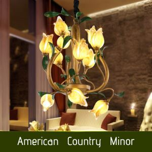 European Style Retro Iron Gold Tulip Glaze Shade 12 Lights LED Chandeliers Energy Saving