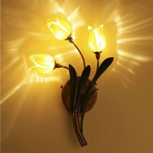 European Style Retro Sconce Iron Gold Tulip Glaze Shade 3 Lights LED Wall Light Energy Saving