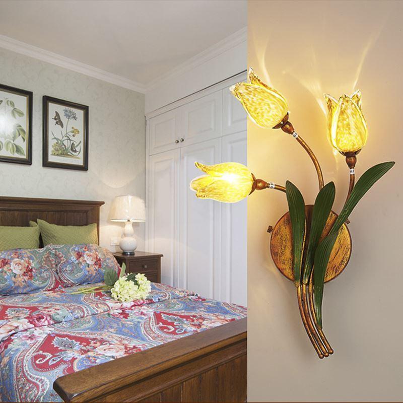 Image result for European Style Retro Iron Gold Tulip Glaze Shade 3 Lights LED Wall Light Energy Saving