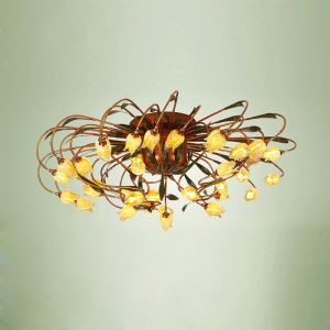 European Style Retro Iron Gold Tulip Glaze Shade 38 Lights LED Flush Mounts Energy Saving