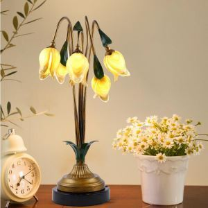 European Style Retro Iron Gold Tulip Glaze Shade 5 Lights LED Table Lamp Energy Saving