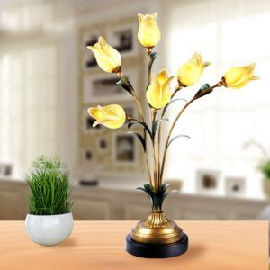 European Style Retro Iron Gold Tulip Glaze Shade 6 Lights LED Table Lamp Energy Saving