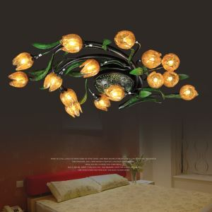 European Style Retro Iron Gold Lotus Glaze Shade 15 Lights LED Flush Mounts