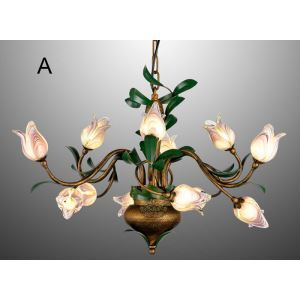 European Style Retro Iron Purple Tulip/Gold Tulip Glaze Shade 12 Lights LED Chandeliers