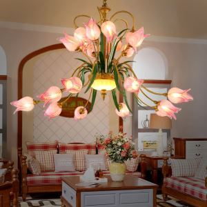 European Style Retro Iron Purple-red Tulip Glaze Shade 20 Lights LED Chandeliers Energy Saving