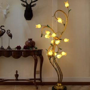 European Style Retro Iron Gold Tulip/Purple-red Tulip Glaze Shade 15 Lights LED Floor Lights