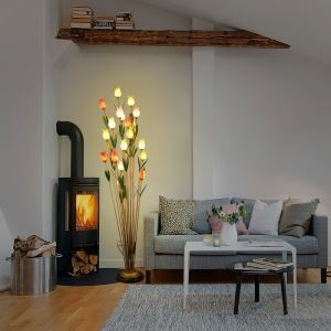 European Style Retro Iron Colorful Tulip Glaze Shade 21 Lights LED Floor Lights Energy Saving