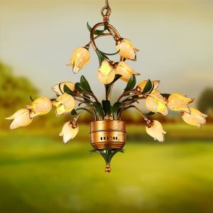 European Style Retro Iron Gold Tulip Glaze Shade 15 Lights LED Chandeliers