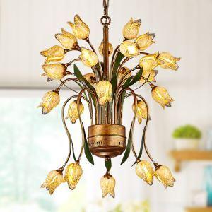 European Style Retro Iron Gold Tulip Glaze Shade 25 Lights LED Chandeliers