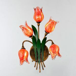 European Style Retro Iron Red Tulip/Gold Tulip Glaze Shade 5 Lights LED Wall Light