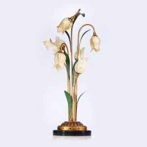 European Style Retro Iron Gold Tulip Glaze Shade 7 Lights LED Table Lamp